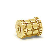 Bali Beads | Sterling Silver Vermeil-24k Gold Plated - Vermeil Barrel and Pipe Beads, 24K Gold Vermeil on Sterling Silver B1002V
