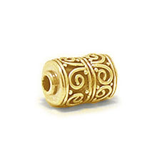 Bali Beads | Sterling Silver Vermeil-24k Gold Plated - Vermeil Barrel and Pipe Beads, 24K Gold Vermeil on Sterling Silver B1003V
