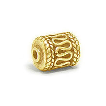 Bali Beads | Sterling Silver Vermeil-24k Gold Plated - Vermeil Barrel and Pipe Beads, 24K Gold Vermeil on Sterling Silver B1008V