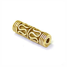 Bali Beads | Sterling Silver Vermeil-24k Gold Plated - Vermeil Barrel and Pipe Beads, 24K Gold Vermeil on Sterling Silver B1012V