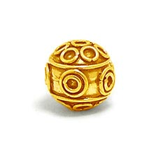Bali Beads | Sterling Silver Vermeil-24k Gold Plated - Vermeil Round Beads, 24K Gold Vermeil on Sterling Silver B5114V
