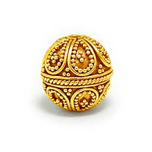 Bali Beads | Sterling Silver Vermeil-24k Gold Plated - Vermeil Round Beads, 24K Gold Vermeil on Sterling Silver B5116V