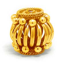 Bali Beads | Sterling Silver Vermeil-24k Gold Plated - Vermeil Round Beads, 24K Gold Vermeil on Sterling Silver B5117V
