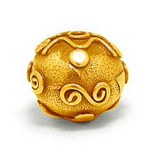 Bali Beads | Sterling Silver Vermeil-24k Gold Plated - Vermeil Round Beads, 24K Gold Vermeil on Sterling Silver B5120V
