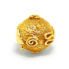 Bali Beads | Sterling Silver Vermeil-24k Gold Plated - Vermeil Round Beads, 24K Gold Vermeil on Sterling Silver B5122V