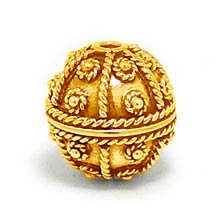 Bali Beads | Sterling Silver Vermeil-24k Gold Plated - Vermeil Round Beads, 24K Gold Vermeil on Sterling Silver B5123V