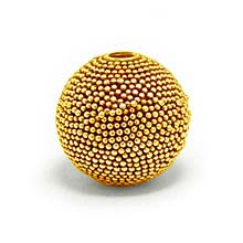 Bali Beads | Sterling Silver Vermeil-24k Gold Plated - Vermeil Round Beads, 24K Gold Vermeil on Sterling Silver B5125V