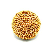 Bali Beads | Sterling Silver Vermeil-24k Gold Plated - Vermeil Round Beads, 24K Gold Vermeil on Sterling Silver B5128V