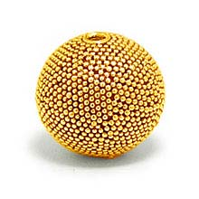 Bali Beads | Sterling Silver Vermeil-24k Gold Plated - Vermeil Round Beads, 24K Gold Vermeil on Sterling Silver B5129V