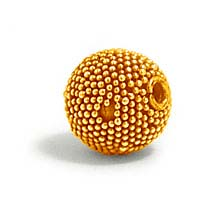 Bali Beads | Sterling Silver Vermeil-24k Gold Plated - Vermeil Round Beads, 24K Gold Vermeil on Sterling Silver B5130V