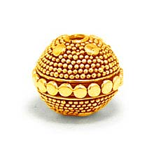 Bali Beads | Sterling Silver Vermeil-24k Gold Plated - Vermeil Round Beads, 24K Gold Vermeil on Sterling Silver B5132V