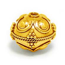 Bali Beads | Sterling Silver Vermeil-24k Gold Plated - Vermeil Round Beads, 24K Gold Vermeil on Sterling Silver B5133V