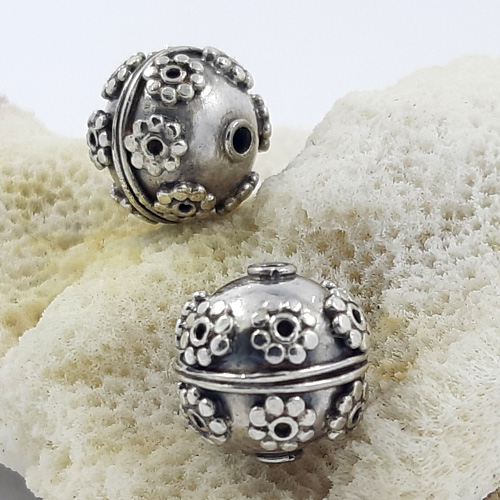 Bali Beads | Sterling Silver Silver Beads - Round Beads, Bali silver beads - B5176