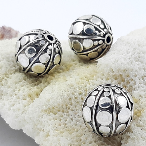 Bali Beads | Sterling Silver Silver Beads - Round Beads, Bali silver beads - B5177