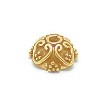 Bali Beads | Sterling Silver Vermeil-24k Gold Plated - Vermeil Ornate Caps, 24K Gold Vermeil on Sterling Silver C3001V