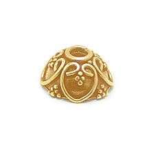 Bali Beads | Sterling Silver Vermeil-24k Gold Plated - Vermeil Ornate Caps, 24K Gold Vermeil on Sterling Silver C3002V