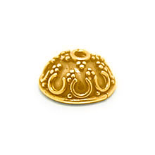 Bali Beads | Sterling Silver Vermeil-24k Gold Plated - Vermeil Ornate Caps, Vermeil Bead Caps On Sterling Silver