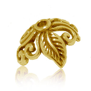 Bali Beads | Sterling Silver Vermeil-24k Gold Plated - Vermeil Ornate Caps, Bali vermeil bead caps