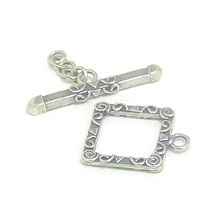 Bali Beads | Sterling Silver Silver Toggles and Claps - Ornate Toggles, Silver Beads T1007