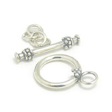 Bali Beads | Sterling Silver Silver Toggles and Claps - Ornate Toggles, Silver Beads T1008