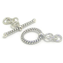 Bali Silver Toggles and Claps - Twisted Wire Toggles