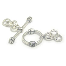 Bali Beads | Sterling Silver Silver Toggles and Claps - Wired Toggles, Silver Beads T4019